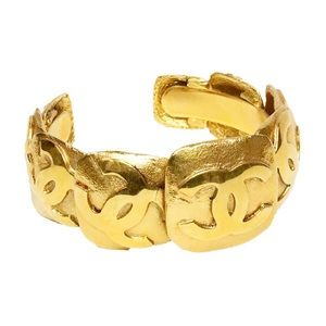 Authentic Vintage Chanel Gold Plated CC Bangle